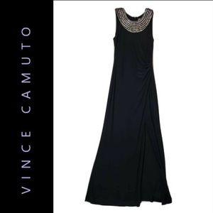 VINCE CAMUTO Jeweled Neck Side Ruching Maxi Dress